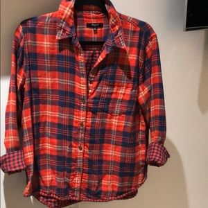 Madewell Coral Plaid Button Down